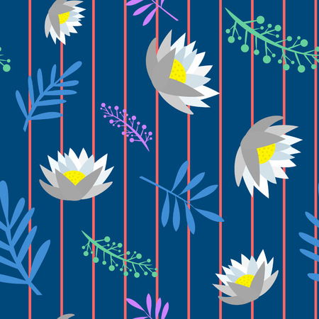 Beautiful blue colored floral seamless pattern cartoon style isolated vector illustration