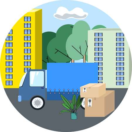 Icon of transportation truck on background of the city with carton boxes and green