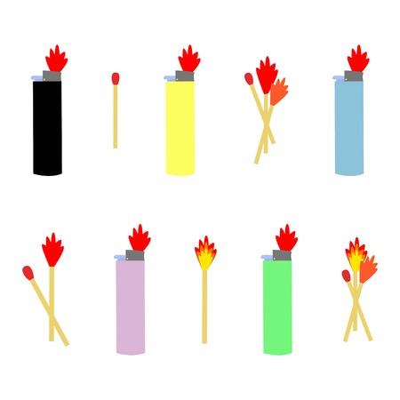 Colorful set of lighters and matches with fire cartoon style doodle vector illustration
