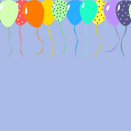 Beautifull balloons for celebration with place for text in flat design cartoon style on blue background vector illustration