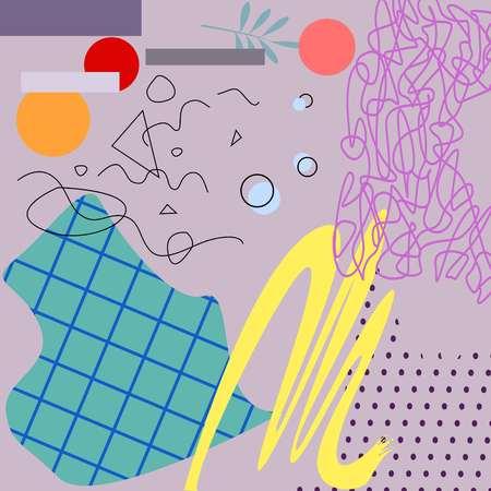 Pastel art pink background of geometric elements cartoon style vector illustration