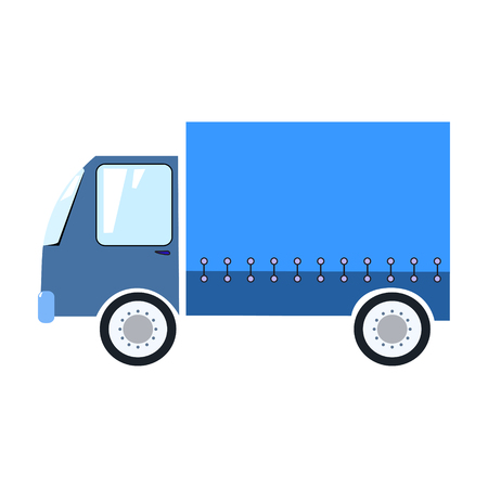 Beautifull blue delivery truck on white background cartoon style vector illustration 矢量图像