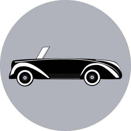 Black icon of beautifull retro stylish cabriolet cartoon style vector illustration 矢量图像