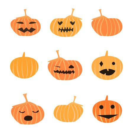 Set of nine different cute cartoon style halloween pumpkins with faces on white background vector illustration