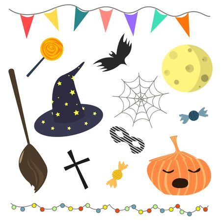 Set of different cute halloween attributes on white background colorful doodle elements for halloween decoration cartoon style vector illustration