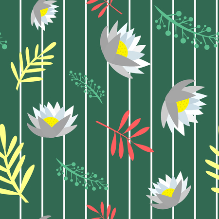 Beautiful green colored floral seamless pattern cartoon style isolated vector illustration 矢量图像