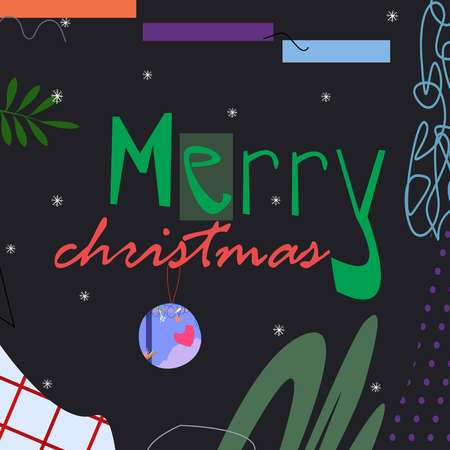 Celebration dark abstract background with merry christmas text cartoon style vector illustration