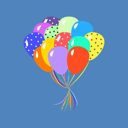 Colorful balloons cartoon style vector illustration on blue background 矢量图像