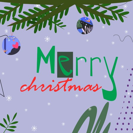 Christmas tree branch with toys with merry christmas text on grey abstract background cartoon style vector illustration