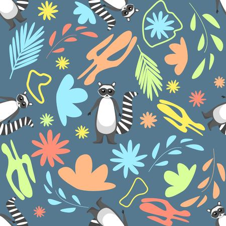 Floral abstract seamless pattern with cute racoons on dark blue background Vector Illustration