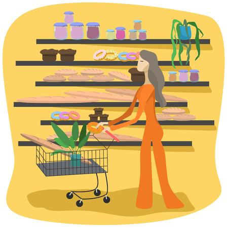 Young girl with shopping carts bying food in the supermarket isolated cartoon style vector illustration 矢量图像