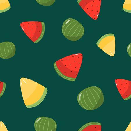 Seamless pattern of seasonal juicy fruits watermelon and melon cartoon style on dark green background vector illustration Illustration