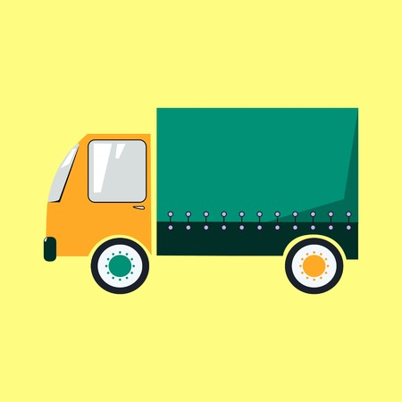 Cute colorful delivery truck cartoon style isolated vector illustration