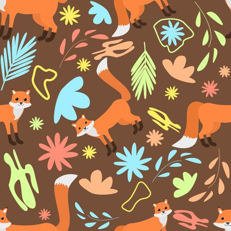 Seamless pattern of foxes on dark orange abstract floral background cartoon style vector illustration