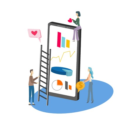Isometric icon of social media statistic on smartphone and tiny people on white background vector illustration 矢量图像