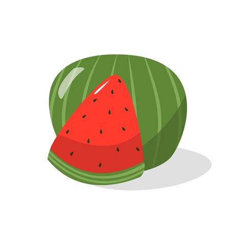 Ripe slice and whole watermelon isolated cartoon style on white background vector illustration