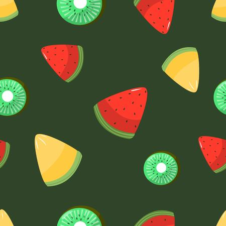 Seamless pattern of sliced melon kiwi and watermelon on dark greenbackground cartoon style vector illustration
