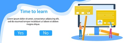 Web banner of e-learning with tiny students and big computer. Online education, courses, distance learning flat vector illustration 矢量图像
