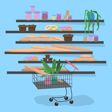 Trolley in the supermarket near the shelves with bread flat cartoon style on blue background vector illustration