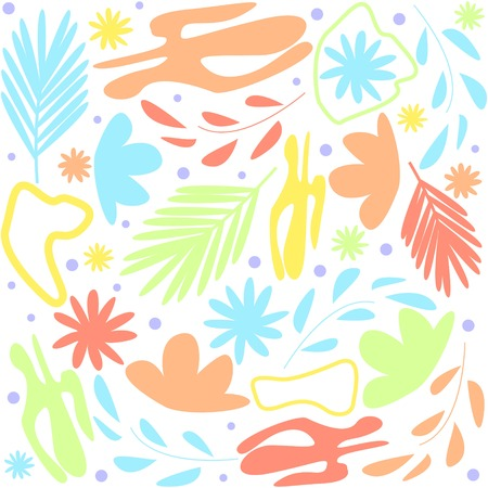 Colorful abstract floral white background cartoon style doodle vector illustration
