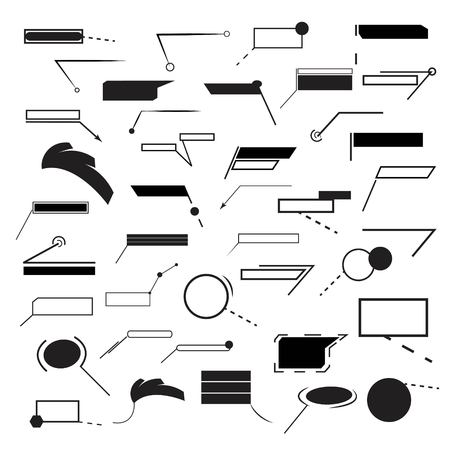 Set of forty black different callout infographic Vector Illustration