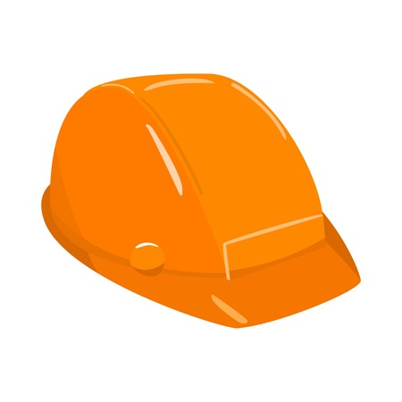 Icon of orange plastic construction helmet isolated on white background vector illustration