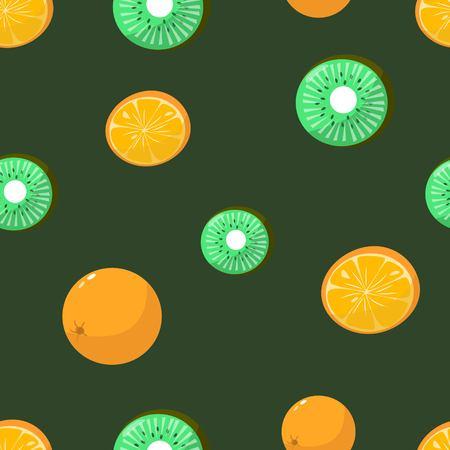 Seamless pattern of oranges and kiwi on dark green background cartoon style vector illustration