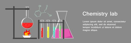 Banner Chemistry Lab with Text and Flasks and Beakers Full of Different Substance, Test Laboratory, Chemical Formula Education on Dark Grey Background Vector Illustration 矢量图像