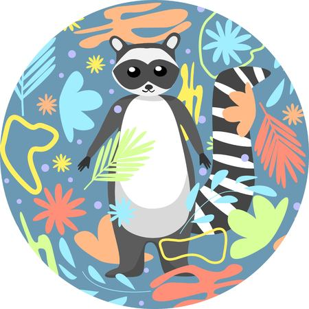 Adorable small racoon cartoon style isolated in shape of round abstract floral background vector illustration 矢量图像