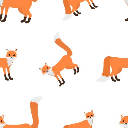 Cute seamless pattern of foxes on white background cartoon style vector illustration