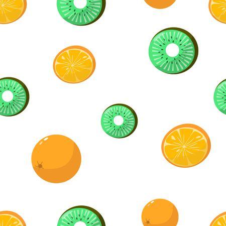 Seamless pattern of oranges and kiwi on white background cartoon style vector illustration 矢量图像