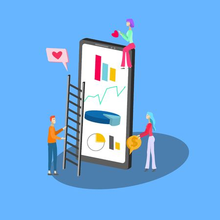 Isometric icon of social media statistic on smartphone and tiny people on blue background vector illustration