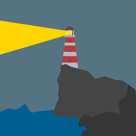 Shining Lighthouse at Night on the Rock on Dark Background Cartoon Style Isolated Vector Illustration 矢量图像