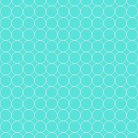 Seamless Pattern of White Circles on Blue Background Flat Vector Illustration