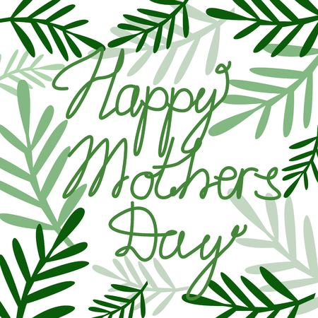 Celebration Mothers Day Text with Leaves on White Background Cartoon Style Vector Illustration