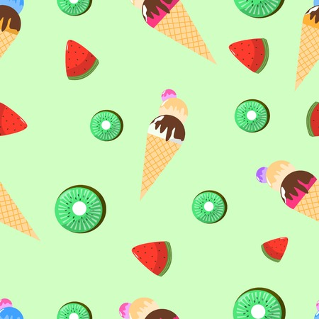 Seamless Pattern of Juicy Ice Cream with Waffles Watermelon and Kiwi on Green Background Cartoon Style Vector Illustration