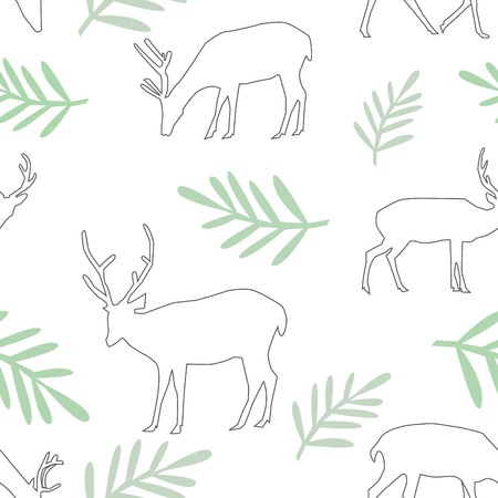 Seamless Pattern of Different Deer With Big Horns and Leaves on white Background Vector Illustration