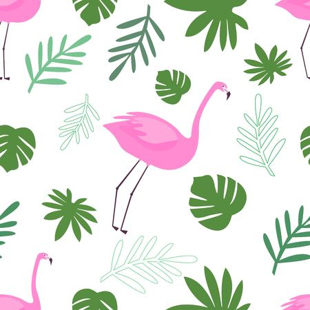 Seamless Pattern of Flamingo With Green Tropical Leaves Vector Illustration