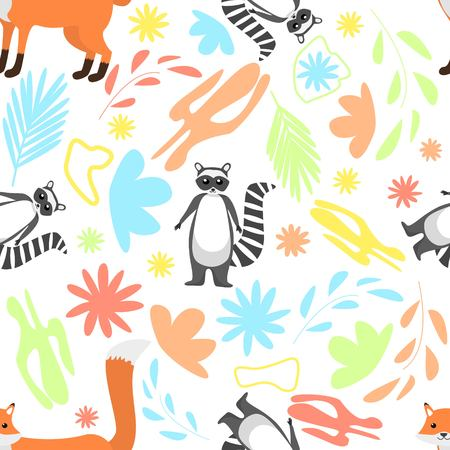 Floral abstract seamless pattern with cute racoon and red fox on white background Vector Illustration