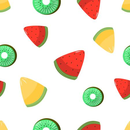 Seamless pattern of sliced melon kiwi and watermelon on white background cartoon style vector illustration