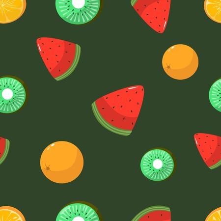 Seamless pattern of oranges kiwi and watermelon on dark green background cartoon style vector illustration 矢量图像