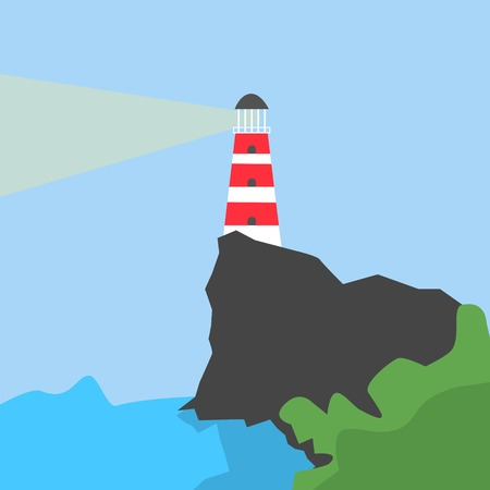Shining Striped Lighthouse on the Rock on Blue Background Cartoon Style Isolated Vector Illustration 矢量图像