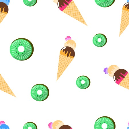Seamless Pattern of Juicy Ice Cream with Waffles and Kiwi Vector Illustration
