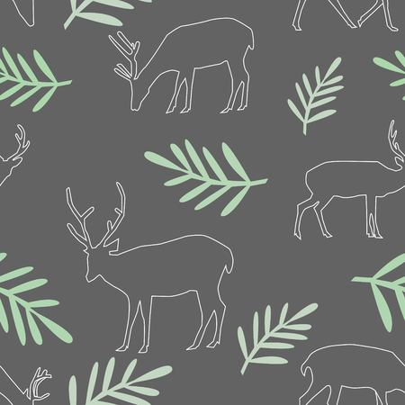 Seamless Pattern of Different Deer With Big Horns and Leaves on Dark Grey Background Vector Illustration