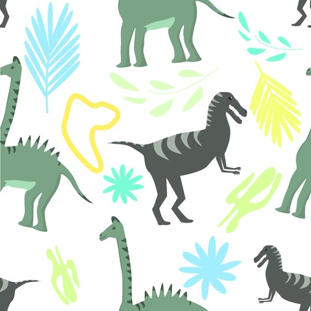 Seamless pattern of two kind dinosaurs on colorful floral background vector illustration