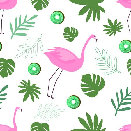 Seamless Pattern of Flamingo With Green Tropical Leaves and Kiwi Vector Illustration