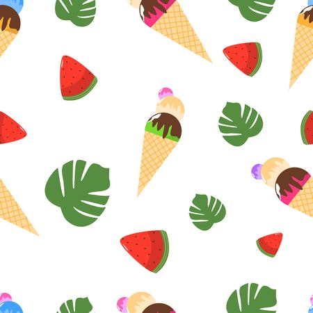 Seamless Pattern of Juicy Ice Cream with Waffles Watermelon and Palm Leaves Cartoon Style Vector Illustration