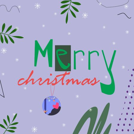 Celebration background grey abstract with merry christmas text cartoon style vector illustration