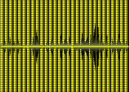 decibels: Abstract music background with vivid yellow graphic display