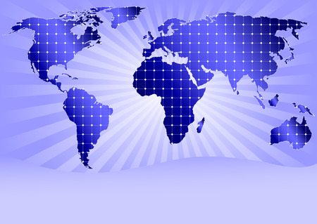 Mapa świata szczegółowe z wszystkich kontynentach objętych panele energia słoneczna Ilustracje wektorowe
